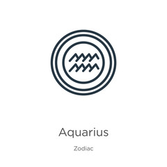 Aquarius icon. Thin linear aquarius outline icon isolated on white background from zodiac collection. Line vector sign, symbol for web and mobile