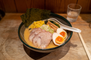 Ramen noodels with meat and egg in Tokyo