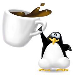 Fototapete - pinguino con caffè