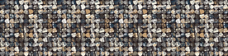 Dark pebble mosaic effect vector border texture. Masculine geometric seamless melange banner pattern. Hand drawn variegated irregular background. Textured classic blue brown hipster ribbon trim.