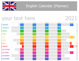 2021 English Planner Calendar with Horizontal Months on white background