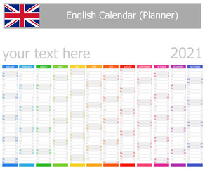 2021 English Planner Calendar with Vertical Months on white background