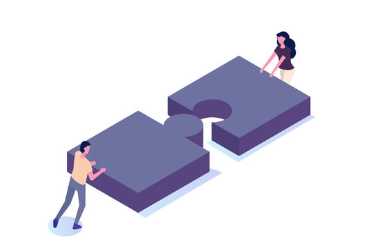 Unity, teamwork isometric concept. Connect two puzzle piece. Vector illustration.