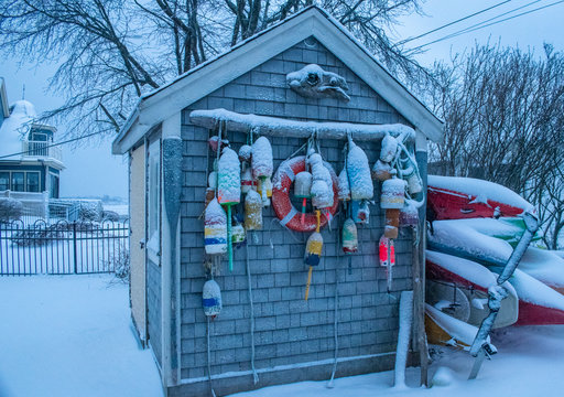 Seaside shed during winter storm in Kennebunkport, Maine.