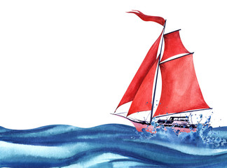 Lightweight pink abstract sailing yacht with red sails and a red waving flag. Sailing among the ocean waves and spray. Boat at sea. Hand drawn watercolor illustration. Isolated