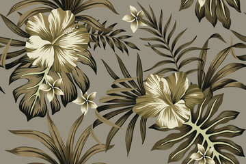 Tropical flower hibiscus and plumeria floral palm leaves seamless pattern grey background. Exotic jungle wallpaper.