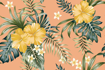 Tropical vintage yellow hibiscus flower, palm leaves floral seamless pattern peach background. Exotic jungle wallpaper.