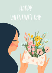 Romantic illustration with cute woman. Vector design concept for Valentines Day and other users.