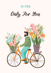 Romantic illustration with cute man and flowers. Vector design concept for Valentines Day and other users.