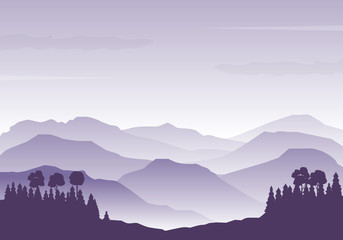 Fotobehang Purper Vector illustration of mountains silhouette. Foggy mountains landscape vector. Mountains background with purple color