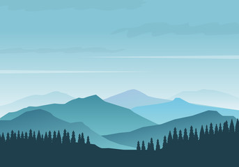 Canvas Prints Pool Forest silhouette and morning foggy mountains vector illustration with blue color. Mountains landscape background