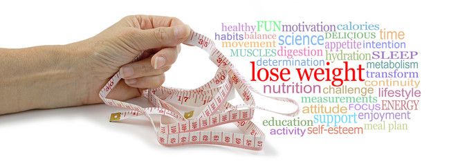 Words associated with Losing Weight Tag Cloud - female hand holding a measuring tape in one hand beside a LOSE WEIGHT  word tag cloud isolated on a white background
