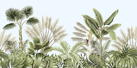 Tropical vintage botanical landscape, palm tree, banana tree, plant floral seamless border blue background. Exotic green jungle wallpaper.