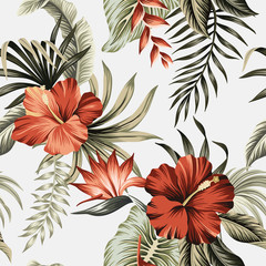 Tropical vintage redhibiscus flower, strelitzia, palm leaves floral seamless pattern grey background. Exotic jungle wallpaper.  G