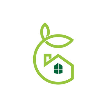 Letter G green house logo, house care, simple linear house with leaf logo concept, garden logo vector,  shady house icon, housing vector illustration