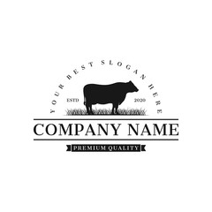 cattle angus farm logo inspiration, illustration vector eps 10