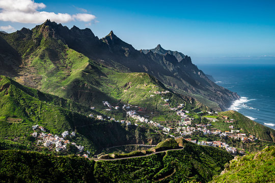Anaga Rural park, view from El Bailadero viewpoint down towards picturesque villages of Azanos and Taganana in Tenerife, Canary Islands, Spain.