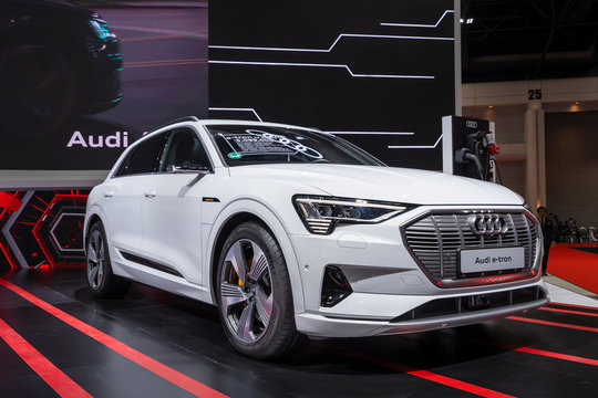 BANGKOK, THAILAND – March 26, 2019 : Audi e-tron GT electronic vehicle for save environment on display 40th Thailand International Motor Show in IMPACT exhibition hall Bangkok, Thailand