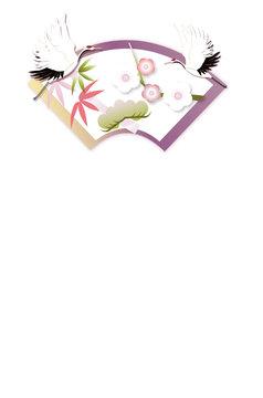 年賀状素材鶴と松竹梅に扇のイラストのハガキテンプレート