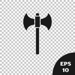 Black Medieval axe icon isolated on transparent background. Battle axe, executioner axe. Vector Illustration