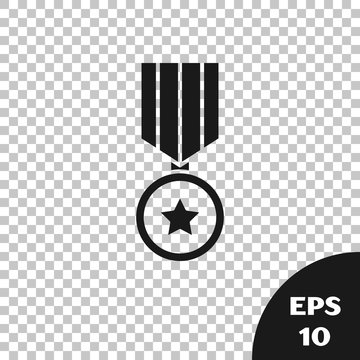 Black Military reward medal icon isolated on transparent background. Army sign. Vector Illustration