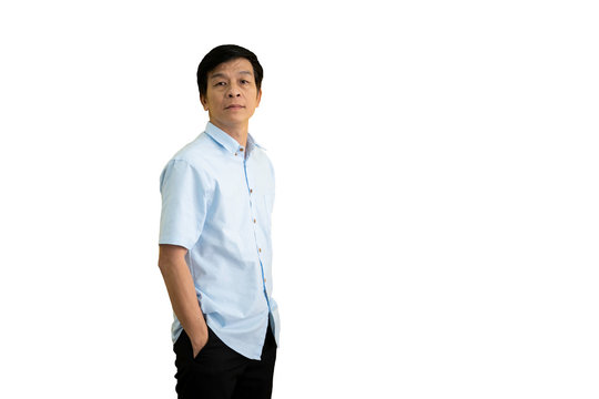 Isolated with Clipping path. Smart and handsome Asian elder man (age between 50-59 years old) portrait close up.