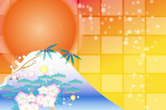 年賀状素材富士山と日の出の横長はがきサイズテンプレート