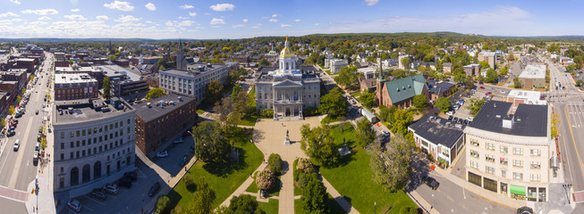 New Hampshire State House aerial view panorama, Concord, New Hampshire NH, USA. New Hampshire State House is the nations oldest state house, built in 1816 - 1819. Fotomurales