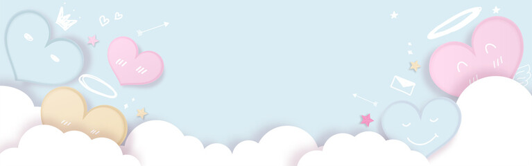 Cute pastel hearts decorated with clouds and element for love,drawing style on light blue background.  Place for text. Vector illustration.