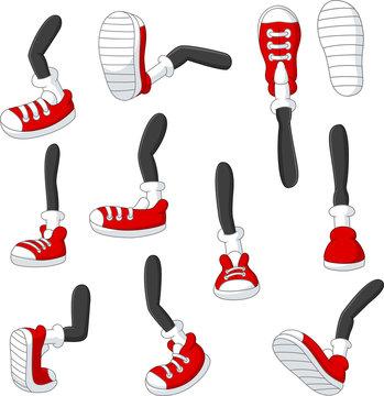 Cartoon walking feet in red sneakers on stick legs in various positions