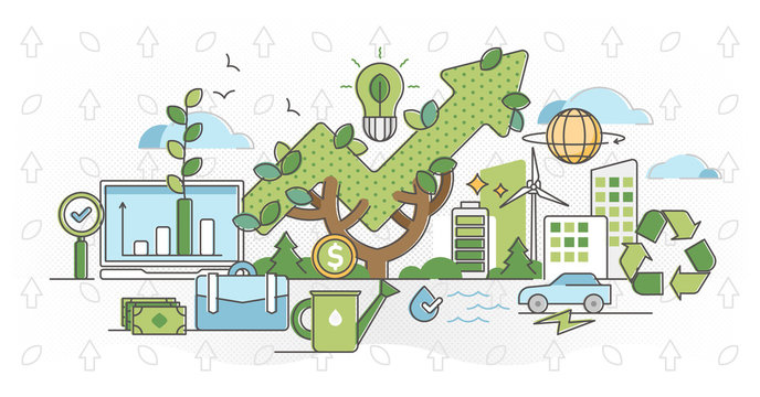 Green business and sustainable energy outline concept vector illustration.