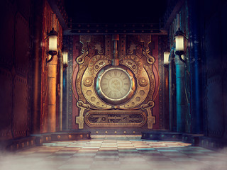 Fantasy scene with a colorful steampunk clock and lamps on the walls. 3D render.