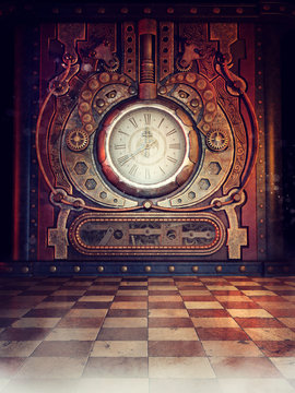 Steampunk clock in an old vintage room with red light and fog. 3D render.