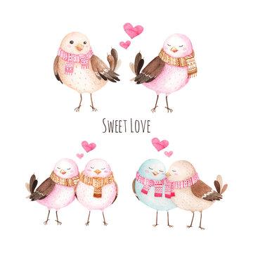 Cute Bird in Love, watercolor illustration