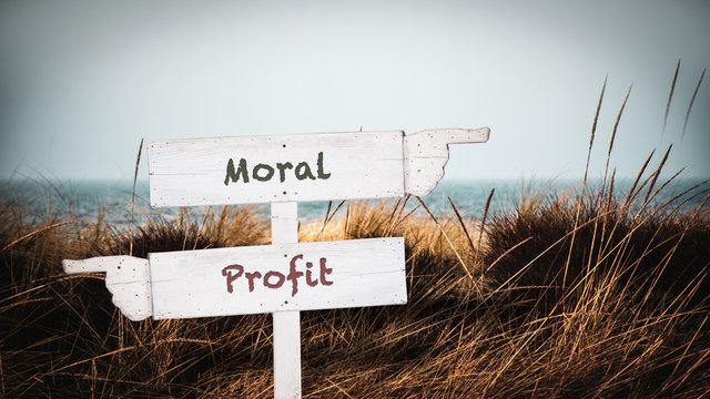 Street Sign to Moral versus Profit
