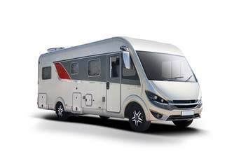 German motor home side view isolated on white