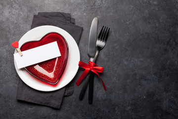 Valentines day or romantic dinner table setting