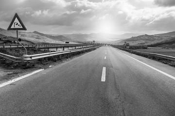 Foto auf Leinwand Grau Asphalt road of the island of Sicily