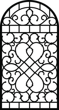 Forged fence. Gothic door, vector design. Decorative garden gate. Metal pattern or iron wicket for garden, castel. Rich ornament. Scroll-work