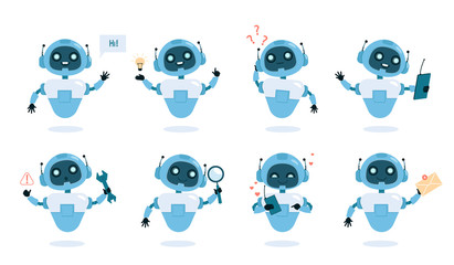 Chatbot functions and abilities flat vector illustrations set