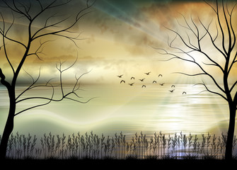 Printed kitchen splashbacks Beige Illustration of Sunrise the beach in the morning