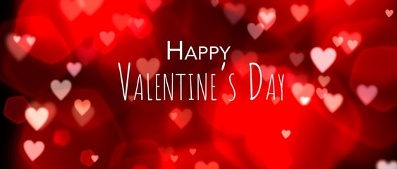 Fototapete - Valentine's day red background with heart shaped bokeh.Abstract red background banner with text