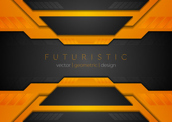Orange black tech corporate geometric abstract background. Vector design