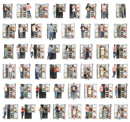 Collage of people near open refrigerators on white background