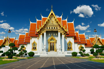 Canvas Prints Place of worship buddhist marble temple Wat Benchama Bophit in Bangkok -Thailand