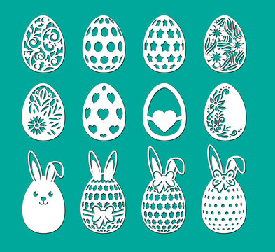 Set of laser cut template. Decorative eggs with rabbit, bow, flower, ears of bunny. Vector sample elements. Happy Easter egg hunt. Silhouette illustration for paper cut isolated on green background.