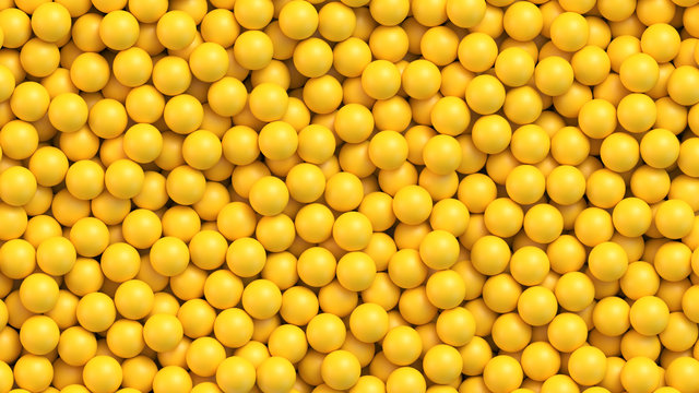 Yellow balls background. Realistic vector background