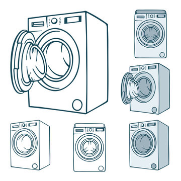 Washing machine. Hand drawn washing machines illustrations set. Washing machines sketch drawing collection. Part of set.