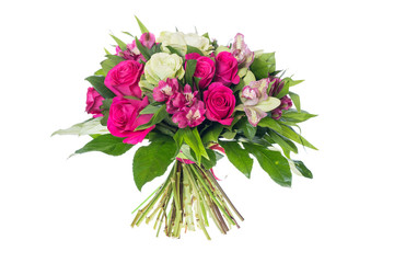 bouquet of flowers isolated on white Fotobehang