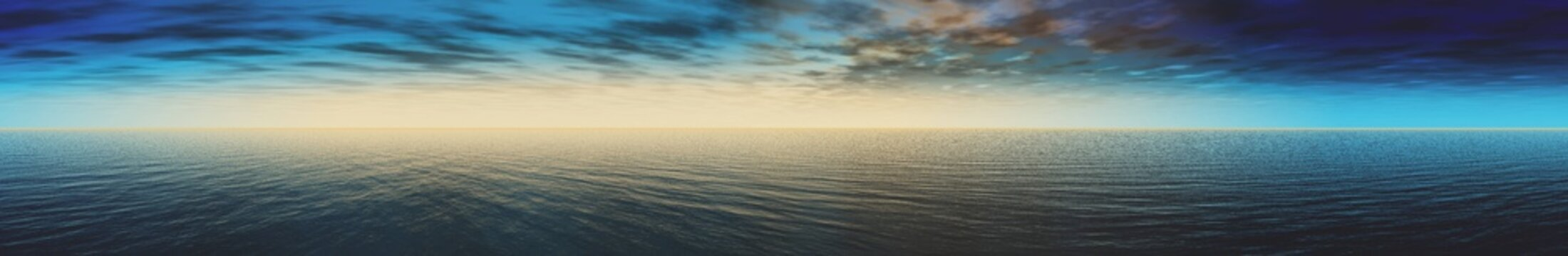 Panorama of fantastic sea sunset, panorama of the sea and sky, 3D rendering.